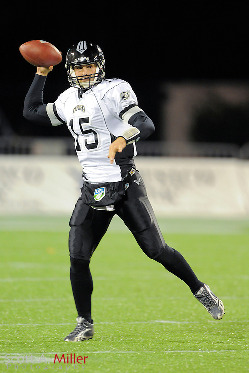 Omaha Nighthawks quarterback Matt Gutierrez (15) during the Nighthawks game against the Florida Tuskers at the Florida Citrus Bowl on November 4, 2010 in Orlando, Florida. Florida won the game 31-14...©2010 Scott A. Miller