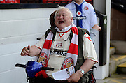 Walsall fan in good spirits during the Sky Bet League 1 match between Walsall and Doncaster Rovers at the Banks's Stadium, Walsall, England on 12 September 2015. Photo by Alan Franklin.