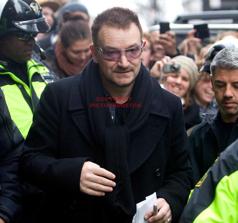 Bono of U2 in Boston.