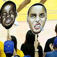 04 June 2017: Big heads of Golden State Warriors guard Stephen Curry (30) and Golden State Warriors forward Draymond Green (23) are seen during the Golden State Warriors 132-113 victory over the Cleveland Cavaliers, in game 2 of the 2017 NBA Finals, at the Oracle Arena, Oakland, California, USA.