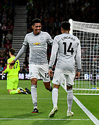Goal - Chris Smalling (12) of Manchester United celebrates scoring a goal to give a 0-1 lead to the away team with Jesse Lingard (14) of Manchester United during the Premier League match between Bournemouth and Manchester United at the Vitality Stadium, Bournemouth, England on 18 April 2018. Picture by Graham Hunt.