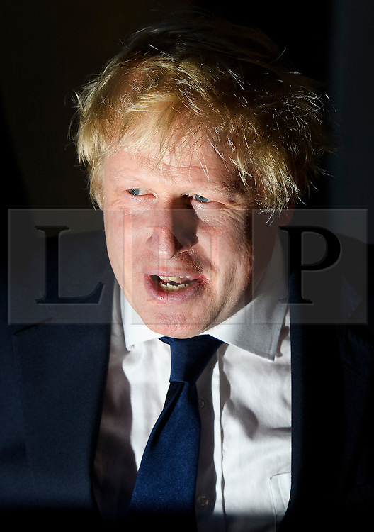 © Licensed to London News Pictures. 23/06/2016. London, UK. Boris Johnson casts his vote in the EU referendum. Polls will close at 10pm tonight, with a result expected to be announced some time after 7am tomorrow. Photo credit: Ben Cawthra/LNP