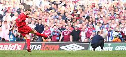 CARDIFF, WALES - SATURDAY, MAY 13th, 2006: Liverpool's Steven Gerrard scores a penalty kick  during the shoot out against West Ham United after extra time during the FA Cup Final at the Millennium Stadium. (Pic by David Rawcliffe/Propaganda)