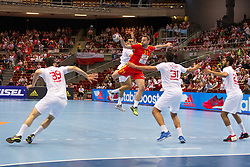 09.04.2016, Ergo Arena, Gdansk, POL, IHF Herren, Olympia Qualifikation, Mazedonien vs Tunesien, im Bild Mohamed Soussi, Nemanja Pribak, Marouan Chouiref, Oussama Hosni // during the IHF men's Olympic Games handball qualifier between Macedonia and Tunisia at the Ergo Arena in Gdansk, Poland on 2016/04/09. EXPA Pictures © 2016, PhotoCredit: EXPA/ Newspix/ Tomasz Zasinski<br /> <br /> *****ATTENTION - for AUT, SLO, CRO, SRB, BIH, MAZ, TUR, SUI, SWE only*****