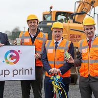 Fearghal Carroll CFO CupPrint, Will Lorenzi Smart Planet Technologies, Minister of State for Trade, Employment, Business, EU Digital Single Market and Data Protection Pat Breen   and Terry Fox CEO CupPrint at the manufacturing facility in Ballymaley Business Park, Ennis