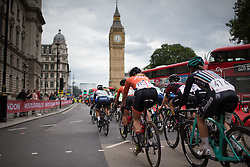 With the Big Ben in the background, the peloton is about to turn onto Whitehall during the Prudential RideLondon Classique, a 66 km road race in London on July 30, 2016 in the United Kingdom.