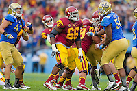 17 October 2012: Guard (66) Marcus Martin of the USC Trojans in game action against the UCLA Bruins during the second half of UCLA's 38-28 victory over USC at the Rose Bowl in Pasadena, CA.