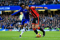 Charlie Daniels of Bournemouth under pressure from Willian of Chelsea - Mandatory by-line: Jason Brown/JMP - 26/12/2016 - FOOTBALL - Stamford Bridge - London, England - Chelsea v Bournemouth - Premier League