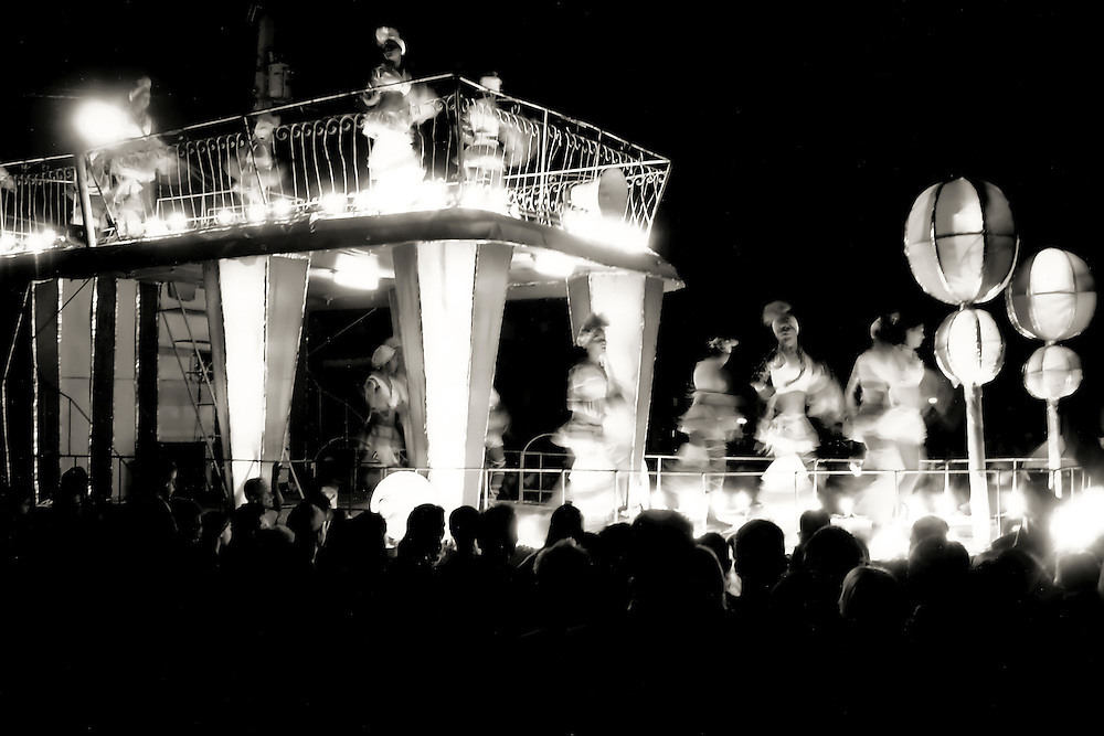 Parade float passes through center of town in Vinales, Cuba.  Photo taken with Nikonos V.  Copyright 2005 Reid McNally.