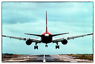 Copyright JIm Rice © 2013.Qantas  plane landing at Sydney airport