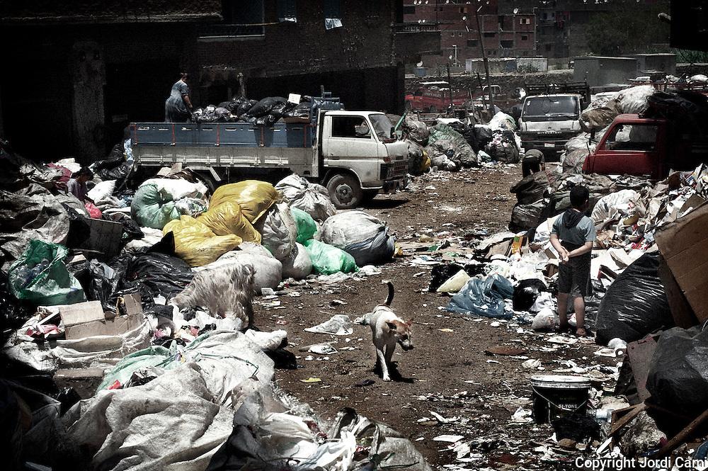 """Camiones descargando basura en una calle de Mokattam . En medio del barrio de Manshiet Nasr a las afueras de El Cairo esta situado el asentamiento de Mokattam conocido como la """"Ciudad de la Basura"""" , está habitado por los Zabbaleen ,una comunidad de unos 45.000 cristianos coptos que viven desde hace varias décadas de reciclar los desperdicios que genera la capital egipcia: plástico, aluminio, papel y desechos órganicos que transforman en compost . La mayoría forman parte de la Asociación para la Protección del Ambiente (APE) una ONG que actúa en el área, cuyos objetivos son proteger el medio ambiente y aumentar el sustento de las recuperadores de basura de El Cairo. Según la ONU, el trabajo que se realiza en Mokattam como uno de los diez mejores ejemplos del mundo en el mejoramiento medioambiental. El Cairo , Egipto, Junio 2011. ( Foto : Jordi Camí )"""