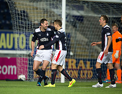 Falkirk's David McCracken celebrates after scoring their goal. <br /> Falkirk 1 v 0 Cowdenbeath, Scottish Championship game played 31/3/2015 at The Falkirk Stadium.