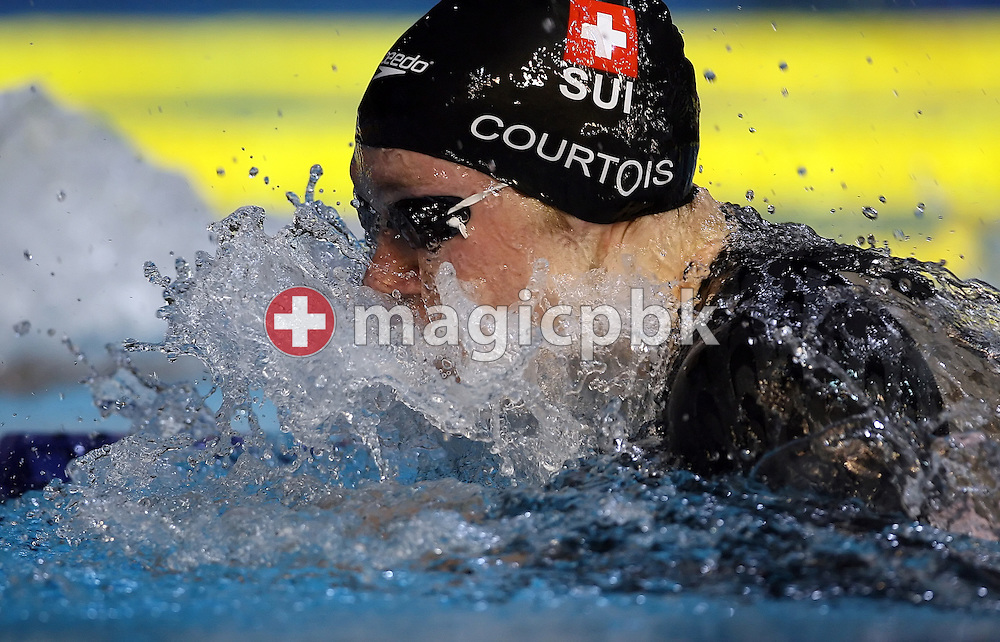 Damien Courtois of Switzerland competes in the men's 50m breaststroke heats in the Susie O'Neill pool at the FINA Swimming World Championships in Melbourne, Australia, Tuesday 27 March 2007. (Photo by Patrick B. Kraemer / MAGICPBK)