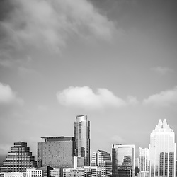 Austin Texas cityscape vertical black and white photo with copy space for adding text. Austin, TX is a major city in the Southwestern United States of America.