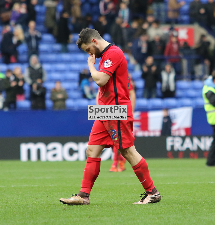 Blackburn's Craig Conway looking dejected after the final whistle ..... Bolton Wanderers FC v Blackburn Rovers FC Sky Bet Championship 28th December 2015 (c) EDDIE LINTON | SportPix.org.uk