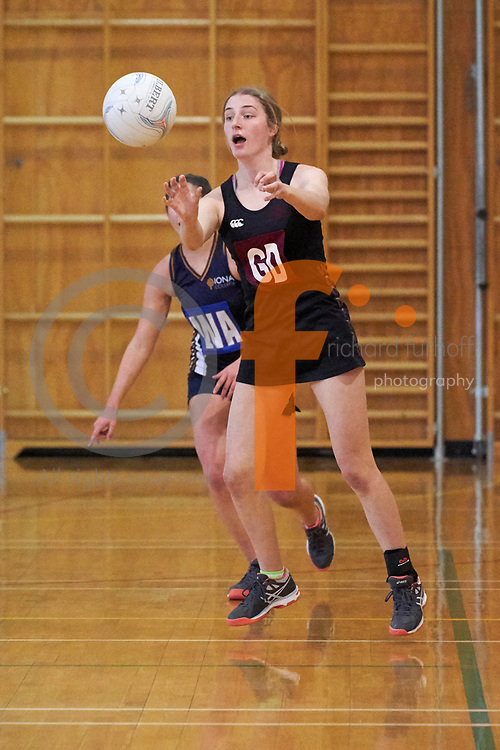 Woodford/Iona/Nga Tawa/St Matthews Quad Sports Event, 2018.<br /> Netball/Football/Hockey<br /> Netball - Woodford House vs Iona College