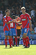 Picture by David Horn/Focus Images Ltd +44 7545 970036.08/09/2012.Luke Wilkinson (r) of Dagenham and Redbridge is sent off during the npower League 2 match at Roots Hall, Southend.