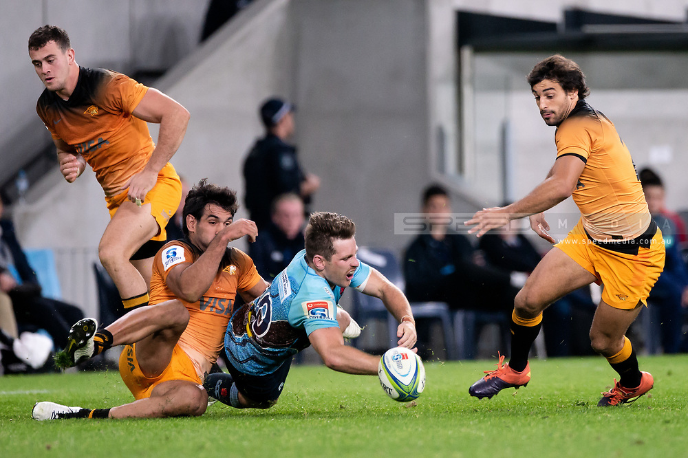 SYDNEY, AUSTRALIA - MAY 25: Waratahs player Bernard Foley (10) drops the ball at week 15 of Super Rugby between NSW Waratahs and Jaguares on May 25, 2019 at Western Sydney Stadium in NSW, Australia. (Photo by Speed Media/Icon Sportswire)