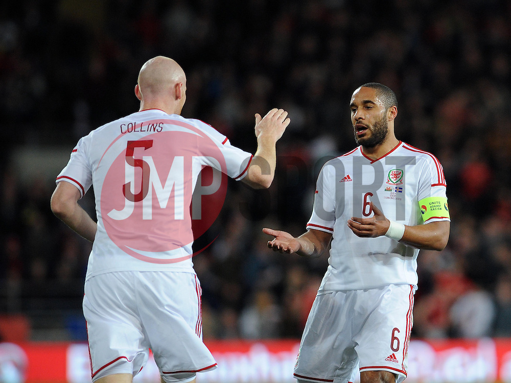 James Collins of Wales (West Ham) celebrates his goal with Ashley Williams of Wales (Swansea City) - Photo mandatory by-line: Dougie Allward/JMP - Tel: Mobile: 07966 386802 03/03/2014 -