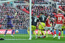 Bristol City's Aden Flint (hidden) scores the opening goal of the game. - Photo mandatory by-line: Dougie Allward/JMP - Mobile: 07966 386802 - 22/03/2015 - SPORT - Football - London - Wembley Stadium - Bristol City v Walsall - Johnstone Paint Trophy Final