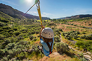 Zip lining in the Snake River Canyon with Zip the Snake in Twin Falls, Idaho. MR