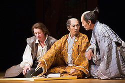 © Licensed to London News Pictures. 31/01/2013. London, England. L-R: Stephen Boxer as Anjin/William Adams, Masachika Ichimura as Shogun and Katsuya Kobayashi as Masazumi Honda. ANJIN, The Shogun and the English Samurai opens at Sadler's Wells Theatre with a run to 9 February 2013. With Masachika Ichimura as the Shogun Ieyasu Tokugawa and Stephen Boxer as William Adams/Anjin. William Adams, known in Japanese as Anjin, was an English maritime pilot who is believed to be the first Englishman to ever reach Japan. His story is brought to the stage in a new play directed Director Gregory Doran, written by Mike Poulton with Shoichiro Kawai. Photo credit: Bettina Strenske/LNP