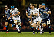 Ospreys' Jeff Hassler makes a break<br /> <br /> Photographer Simon King/Replay Images<br /> <br /> Guinness PRO14 Round 21 - Cardiff Blues v Ospreys - Saturday 28th April 2018 - Principality Stadium - Cardiff<br /> <br /> World Copyright &copy; Replay Images . All rights reserved. info@replayimages.co.uk - http://replayimages.co.uk