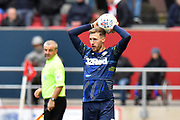 Barry Douglas (3) of Leeds United takes a throw during the EFL Sky Bet Championship match between Bristol City and Leeds United at Ashton Gate, Bristol, England on 9 March 2019.