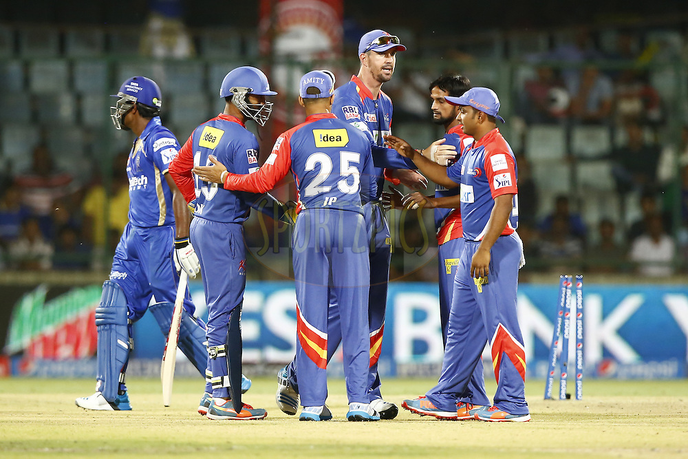 Delhi Daredevils Players celebrates the wicket of  Sanju Samson of Rajatshan Royals during match 23 of the Pepsi Indian Premier League Season 2014 between the Delhi Daredevils and the Rajasthan Royals held at the Feroze Shah Kotla cricket stadium, Delhi, India on the 3rd May  2014<br /> <br /> Photo by Deepak Malik / IPL / SPORTZPICS<br /> <br /> <br /> <br /> Image use subject to terms and conditions which can be found here:  http://sportzpics.photoshelter.com/gallery/Pepsi-IPL-Image-terms-and-conditions/G00004VW1IVJ.gB0/C0000TScjhBM6ikg