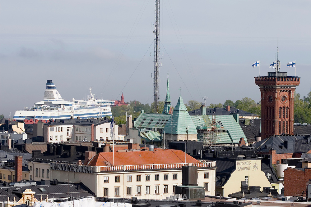 Panoramic view from Bar Ateljee at Sokos Hotel Torni, a famous art deco highriser.  Silja (seal) Line ferry.