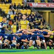 Aaron Smith prepares to feed the scrum during the super rugby union  game between Hurricanes  and Highlanders, played at Westpac Stadium, Wellington, New Zealand on 24 March 2018.  Hurricanes won 29-12.