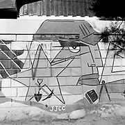 Jun 1, 1999 - La Serena, Chile - A Chilean miners labour union mural near La Serena in Andacollo, Chile.<br /> (Credit Image: &copy; Louie Palu/ZUMA Press)