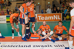 08-09-2018 NED: Netherlands - Argentina, Ede<br /> Second match of Gelderland Cup / Wouter ter Maat #16 of Netherlands, Daan van Haarlem #1 of Netherlands, Jasper Diefenbach #6 of Netherlands, Wessel Keemink #2 of Netherlands