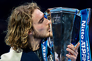 Stefanos Tsitsipas of Greece kisses the winners trophy during the Nitto ATP finals at the O2 Arena, London, United Kingdom on 17 November 2019.
