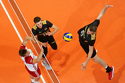 23-09-2019 NED: EC Volleyball 2019 Poland - Germany, Apeldoorn<br /> 1/4 final EC Volleyball - Poland win 3-0 / Marcus Böhme #8 of Germany, Lukas Immanuel Kampa #11 of Germany