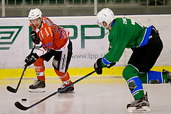 Victor Ahlstrom of Rittner Baum during hockey match between HK SZ Olimpija (SLO) and Rittner Buam (ITA) in 1st round of Alps Hockey League 2017/18, on September 13, 2017 in Tivoli, Ljubljana, Slovenia. Photo by Urban Urbanc / Sportida