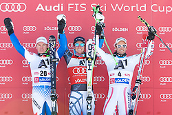23.10.2011, Rettenbachferner, Soelden, AUT, FIS World Cup Ski Alpin, Herren, Riesenslalom, im Bild Podium v.l. Alexis Pinturault (FRA, Platz 2), Ted Ligety (USA, Platz 1) und Philipp Schoerghofer (AUT, Platz 3) // during Mens ginat Slalom at FIS Worldcup Ski Alpin at the Rettenbachferner in Solden on 23/10/2011. EXPA Pictures © 2011, PhotoCredit: EXPA/ Johann Groder