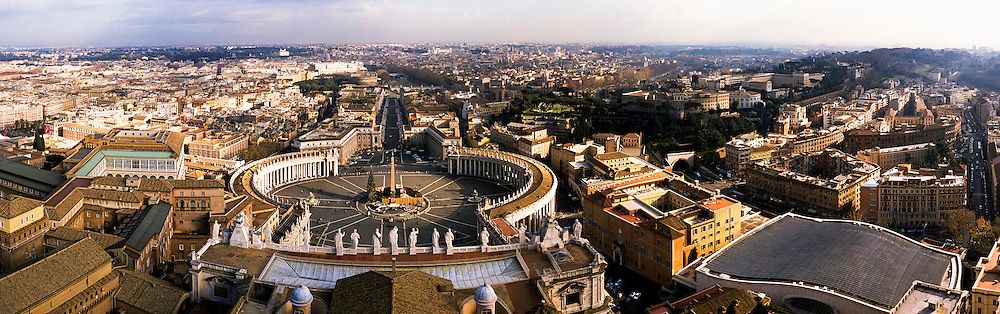 Elevated view over the Vatican and Rome.