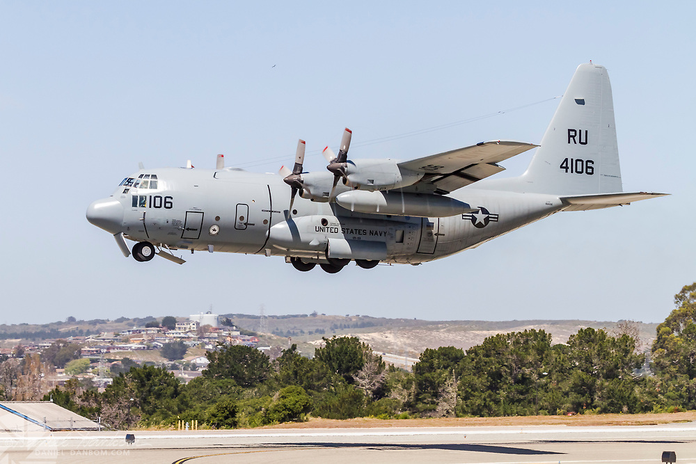 Lockheed C-130T of United States Navy, taking off from MRY, Monterey, California