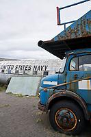 The Egill Ólafsson Aviation Museum at Hnjótur in Örlygshöfn, West fiords of Iceland. Mercedes truck and Douglas C-117D.