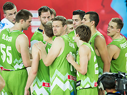 Players of Sloveni after the basketball match between Slovenia vs Greece at Day 5 in Group C of FIBA Europe Eurobasket 2015, on September 9, 2015, in Arena Zagreb, Croatia. Photo by Vid Ponikvar / Sportida