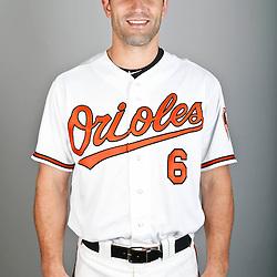 Feb 22, 2013; Sarasota, FL, USA; Baltimore Orioles third baseman Russ Canzler (6) at the Orioles clubhouse. Mandatory Credit: Derick E. Hingle-USA TODAY Sports