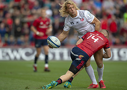 October 20, 2018 - Limerick, Ireland - Billy Twelvetrees of Gloucester tackled by Andrew Conway of Munster during the Heineken Champions Cup match between Munster Rugby and Gloucester Rugby at Thomond Park in Limerick, Ireland on October 20, 2018  (Credit Image: © Andrew Surma/NurPhoto via ZUMA Press)