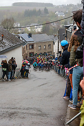 Peloton at Saint-Roch, Houffailize during the 2019 Li&egrave;ge-Bastogne-Li&egrave;ge (1.UWT) with 256 km racing from Li&egrave;ge to Li&egrave;ge, Belgium. 28th April 2019. Picture: Pim Nijland | Peloton Photos<br /> <br /> All photos usage must carry mandatory copyright credit (Peloton Photos | Pim Nijland)