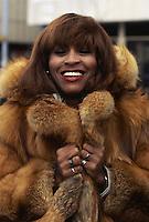 American soul singer Tina Turner in a fur coat, circa 1975.