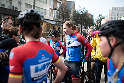 Kirsten Wild (NED) of WNT Rotor Pro Cycling after winning the AG Driedaagse Brugge-De Panne - a 134.4 km road race, between Brugge and De Panne on April 21, 2018, in West Flanders, Belgium. (Photo by Balint Hamvas/Velofocus.com)