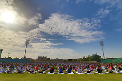 June 21, 2017 - Jaipur, Rajasthan, India - Yoga enthusiasts  take part in a yoga session during the 3rd International Yoga Day at SMS stadium in Jaipur, Rajasthan ,India  on 21st June,2017. (Photo by Vishal Bhatnagar/NurPhoto) (Credit Image: © Vishal Bhatnagar/NurPhoto via ZUMA Press)