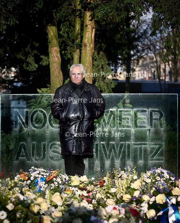 Nederland, Amsterdam , 4 februari 2014.<br /> Jaques Grishaver, Voorzitter Nederlands Auschwitz Comit&eacute; bij het Auschwitz monument.<br /> Foto:Jean-Pierre Jans