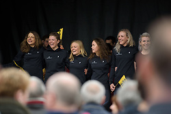 Hitec Products enjoy their time in the spotlight at the Women's Ronde van Vlaanderen 2017 Team Presentation.