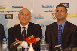 Former Chairman Peter Mallinger, and Manager Kevin Wilson, Paul Gascoigne, Gazza, signs as New Kettering Town Manager at Rockingham Road 27th October 2005